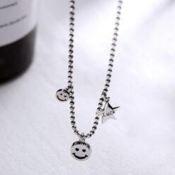 [925純銀]星星笑臉項鍊