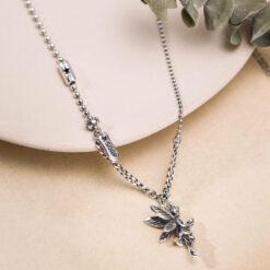 [925純銀]復古做舊小天使項鍊