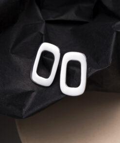 [925純銀]幾何鏤空長方形耳釘
