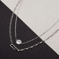 [925純銀]圓牌長條雙層笑臉黑鋯石項鍊