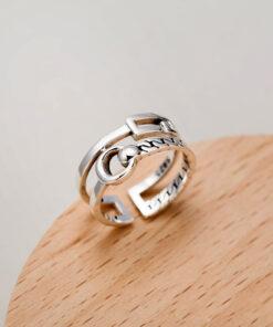 [925純銀]韓國復古雙層幾何戒指
