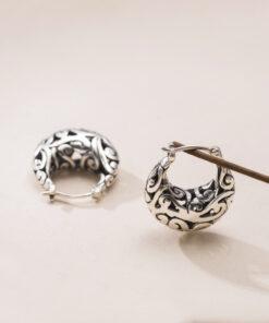 [925純銀]復古雕花鏤空耳環