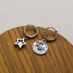 [925純銀]不對稱五角星月亮耳扣