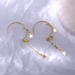 [925純銀]半圓五角星耳環