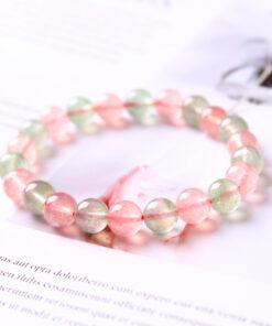 [紅綠草莓晶]圓珠單圈手鍊