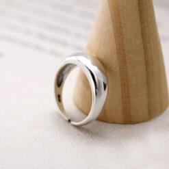 [925純銀]簡約橢圓可調節開口光面加厚戒指