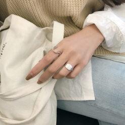 [925純銀]幾何橢圓字母戒指