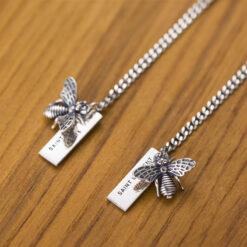 [925純銀]長款蜜蜂流蘇字母牌耳環