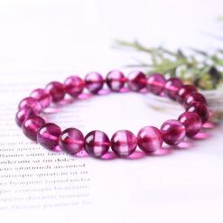 [紫紅千層瑩石]通透乾淨紫螢石手鍊