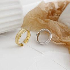 [925純銀]簡約波浪紋戒指