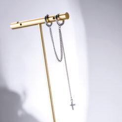 [925純銀]雙耳扣十字架流蘇耳墜