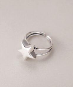 [925純銀]開口復古雙層五角星戒指