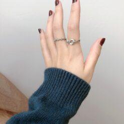 [925純銀]設計感圓圈戒指