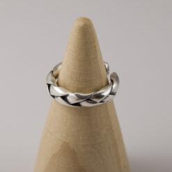 [925純銀]光面交叉做舊復古鏈條麻花開口戒指