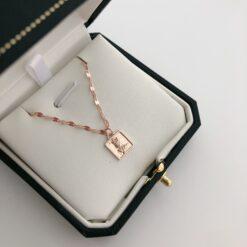 [925純銀]玫瑰花方牌鎖骨鏈