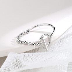 [銅]簡約鏈條圓珠幾何戒指