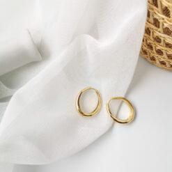 [鋼針]金屬風簡約圓環耳環