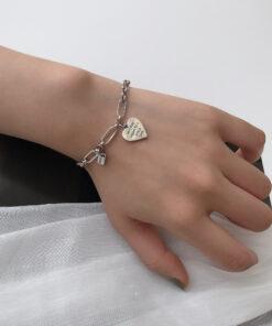[925純銀]簡約愛心英文字母手鍊