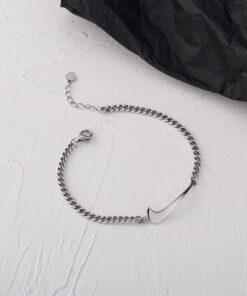 [925純銀]簡約鏈條打鉤手鍊