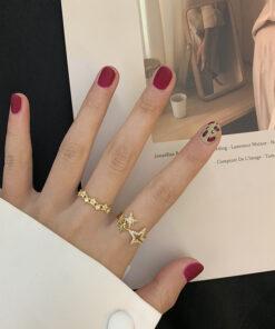 [925純銀]精緻百搭開口星星戒指指環