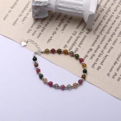 [925純銀]天然碧璽銀珠手鏈