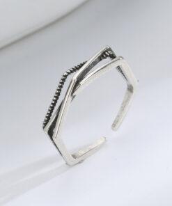 [銅]鏤空多層幾何戒指