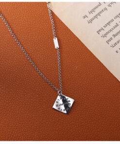 [925純銀]四邊形羅馬數字項鍊