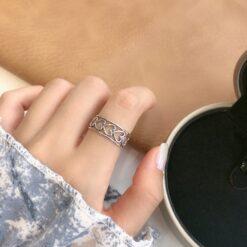 [925純銀]鏤空愛心開口戒指