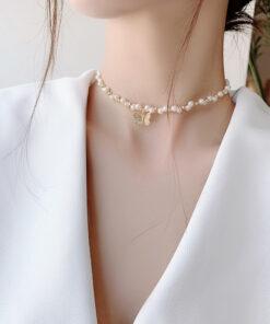 [珍珠]簡約森系蝴蝶珍珠手串項鍊