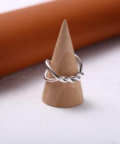 [925純銀]簡約開口設計雙層麻花交叉戒指