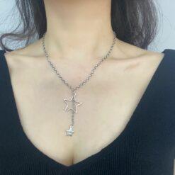 [925纯银]五角星项链 复古做旧泰银星星链条锁骨链 街头潮C-N326