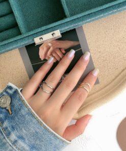 [925純銀]雙層不規則開口戒指