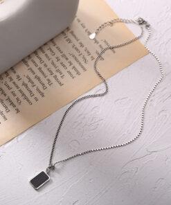 [925純銀]復古簡約方牌英文字母項鍊