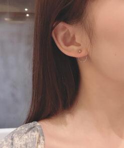[925純銀]簡約後掛式耳釘
