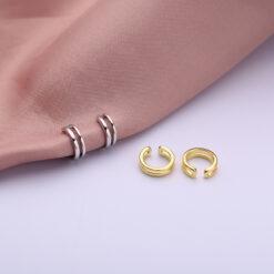 [925純銀]簡約幾何雙層耳夾