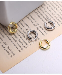 [925純銀]極簡粗圈金屬圓環耳扣耳環