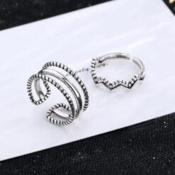 [銅]多層麻花幾何波浪戒指