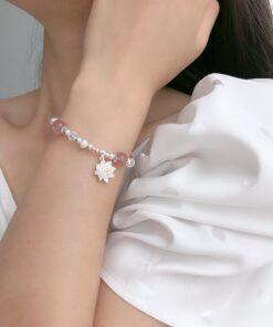 [925純銀]草莓晶蓮花手鏈