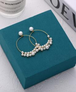 [925純銀]氣質珍珠大圈耳環
