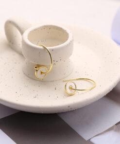 [925純銀]圓形貝母貝殼圈圈耳環耳墜