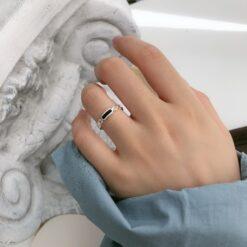 [925純銀]簡約長條滴油戒指