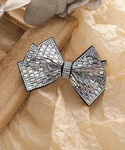 復古鋯石立體蝴蝶結髮夾