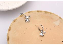 [925純銀]可愛熊耳環