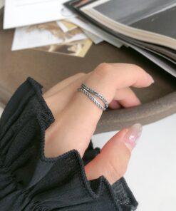 [925純銀]個性雙層波浪戒指