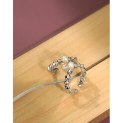 [925純銀]極簡圓珠珍珠戒指