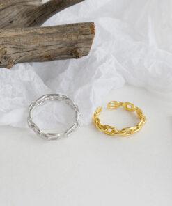 [925純銀]個性鏈條光面戒指