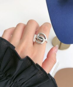 [925純銀]環環相扣冷淡風戒指