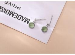 [925純銀]圓形綠色貓眼石耳墜