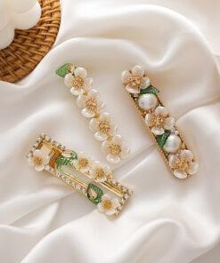 甜美可愛貝殼花朵綠色樹葉鴨嘴夾髮夾