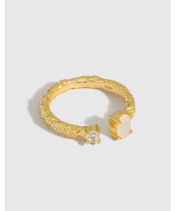 [925純銀]小眾紋理歐泊石銀戒指